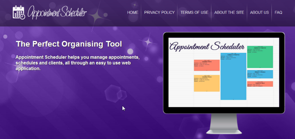 appointment scheduler front page rs
